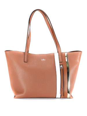 Hogan: totes bags - Zip detail hammered leather tote