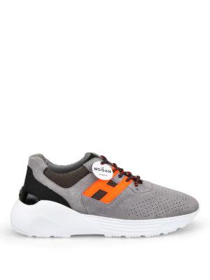 HOGAN  sneakers - Sneaker Active One grigie e arancio fluo 3d77a769ef4