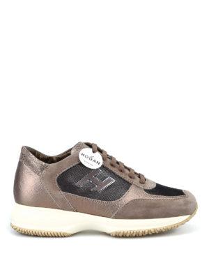 HOGAN: sneakers - Interactive H Flock piccola beige e nera