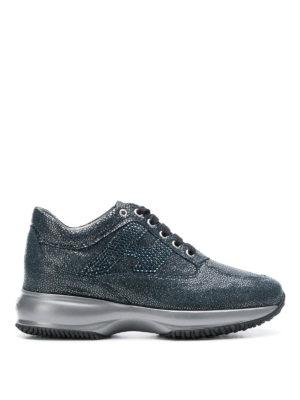 HOGAN: sneakers - Sneaker Interactive blu con strass