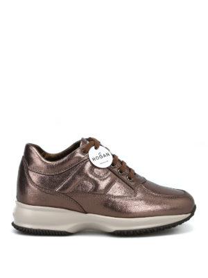 HOGAN: sneakers - Sneaker Interactive in pelle laminata bronzo