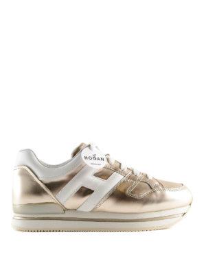 fa5e3de46682 HOGAN  sneakers - Sneaker bronzo in pelle con suola a righe