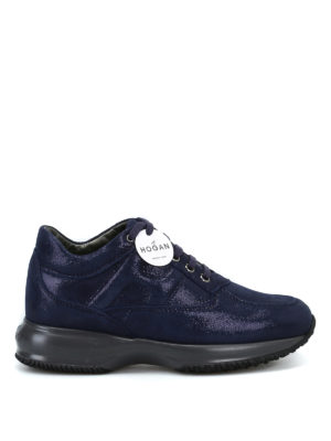 HOGAN: sneakers - Interactive in suede blue shiny