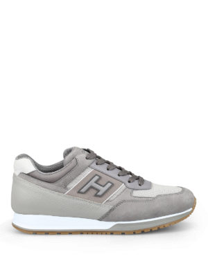 HOGAN: trainers - Dove grey nubuck and leather sneakers