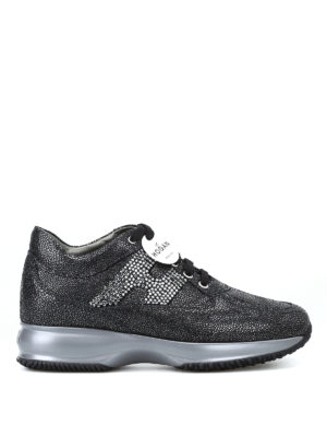 HOGAN: sneakers - Interactive nere in suede con H in strass