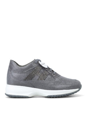 HOGAN: sneakers - Interactive grigie in suede con H in strass