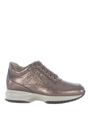 HOGAN: sneakers - Interactive in pelle laminata con H in strass