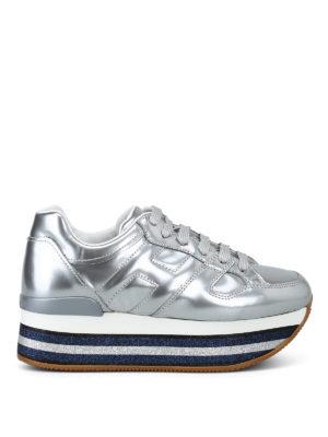 HOGAN: sneakers - Sneaker argento e plateau con glitter rigato