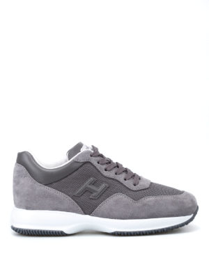 Hogan: trainers - Grey fabric and suede Interactive