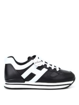 HOGAN: sneakers - Sneaker H222 nere e bianche in pelle