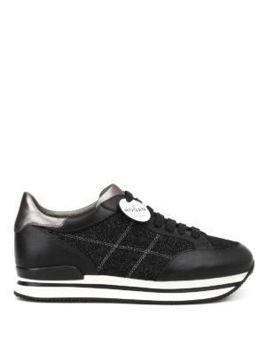 HOGAN: sneakers - Sneaker H222 nere in pelle e glitter