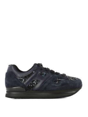 Hogan: trainers - H222 bouclé insert leather sneakers
