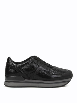 Hogan: trainers - H222 crackle leather sneakers