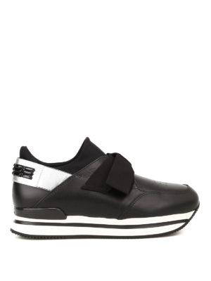 HOGAN: sneakers - Slip-on H222 in pelle e tessuto