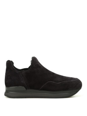 Hogan: trainers - H222 faux fur lined black slip-ons