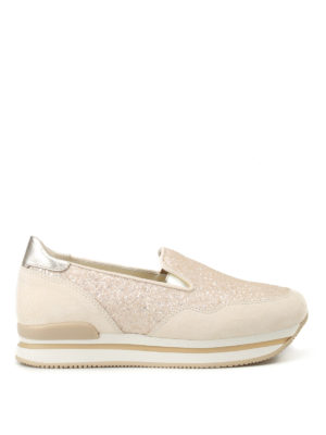 Hogan: trainers - H222 glitter and suede slip-ons