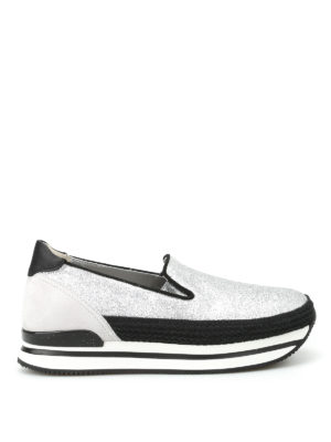 Hogan: trainers - H222 glittered leather slip-ons