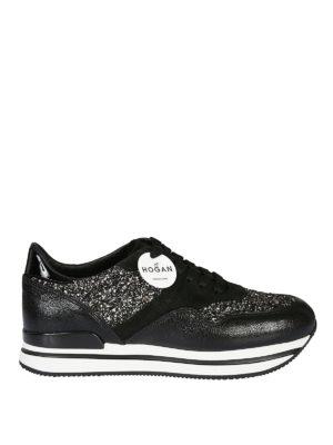 HOGAN: sneakers - Sneaker H222 in pelle e camoscio con glitter