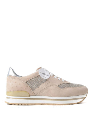 Hogan: trainers - H222 pink suede and lurex sneakers