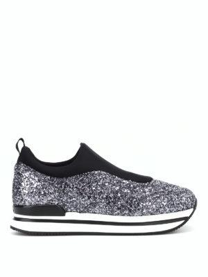 HOGAN: sneakers - Slip-on H222 in scuba e glitter brillante