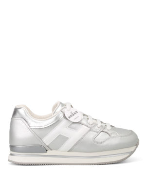 Hogan: trainers - H222 silver and white sneakers