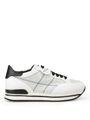 Hogan: trainers - H222 silver lurex inserts sneakers