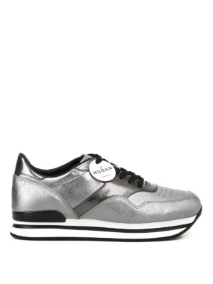 HOGAN: sneakers - Sneaker H222 in pelle metallizzata argento