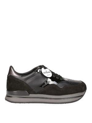 HOGAN: sneakers - Sneaker H222 nere in camoscio e pelle