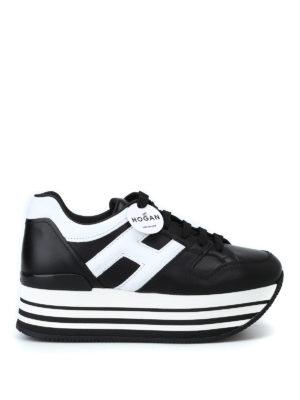 HOGAN: sneakers - Sneaker nere e bianche H283 in pelle