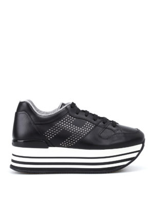 Hogan: trainers - H283 Maxi black leather sneakers