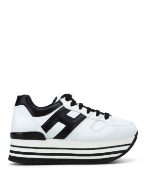 HOGAN: sneakers - Sneaker bianche e nere H283 in pelle