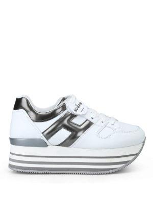 HOGAN: sneakers - Sneaker bianche e grigio piombo H283 in pelle