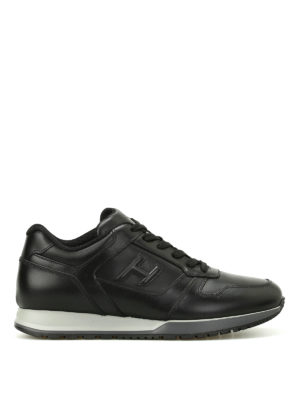 Hogan: trainers - H321 black leather sneakers