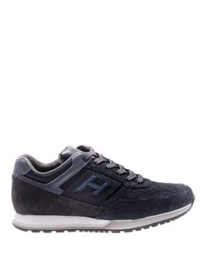 Hogan: trainers - H321 blue multifabric suede sneaker