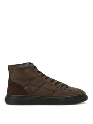 Hogan: trainers - H340 high top ebony sneakers