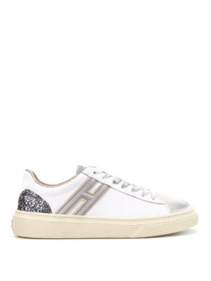 Hogan: trainers - H340 leather and glitter sneakers