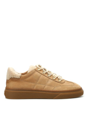 Hogan: trainers - H340 nubuck and shearling sneakers