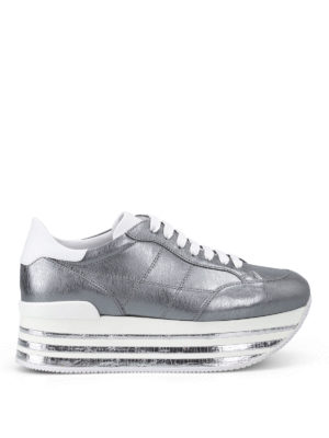 Hogan: trainers - H349 metallic leather sneakers