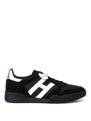 HOGAN: sneakers - Sneaker H357 in suede e tessuto tecnico nero