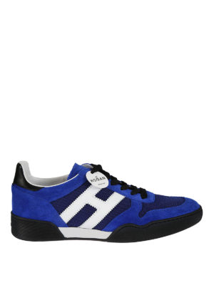 Hogan: trainers - H357 blue suede and mesh sneakers