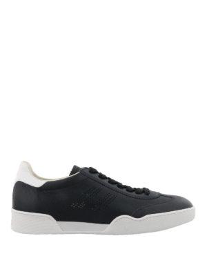HOGAN: sneakers - Sneaker H357 blu con logo traforato