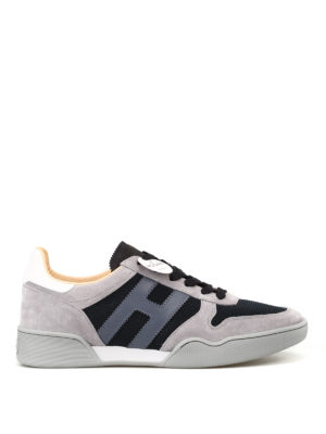 HOGAN: sneakers - Sneaker H357 blu e grigie in suede