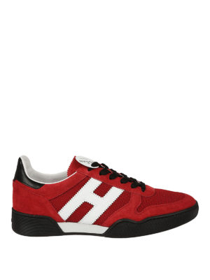 Hogan: trainers - H357 red suede and mesh sneakers
