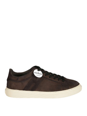 HOGAN: sneakers - Sneaker H365 in crosta marrone