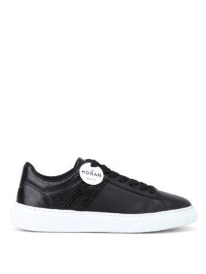 HOGAN: sneakers - Sneaker H365 nere in pelle effetto craquelé