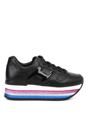 HOGAN: sneakers - Sneaker in pelle nera H407 Maxi con glitter