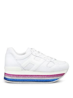 HOGAN: sneakers - Sneaker in pelle bianca H407 Maxi con glitter