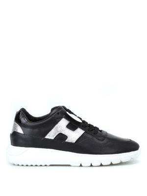 HOGAN: sneakers - Sneaker Interactive³ nere e argento