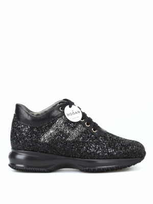 HOGAN: sneakers - Interactive in glitter nero e pelle