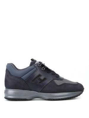 HOGAN: sneakers - Sneaker Interactive blu in pelle e nabuk